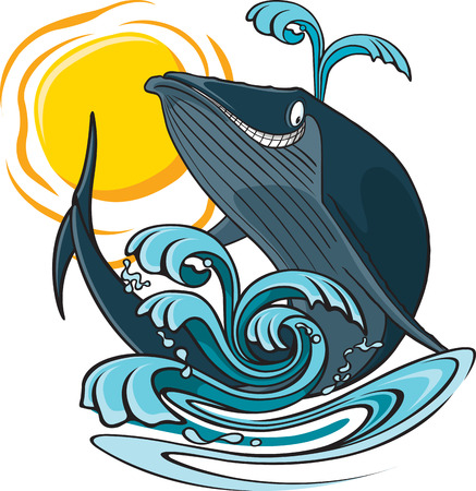 A cartoon whale jumping out of the water  Layered and high resolution jpeg files available
