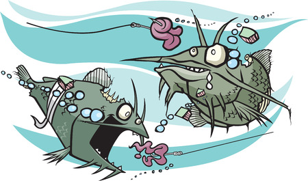 A pair of cartoon Zombie Catfish looking for Brains  Abstract water background  Layered vector and high resolution jpeg files available