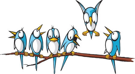 Six cartoon Blue Birds perched on a limb  Vector and high resolution jpeg files available