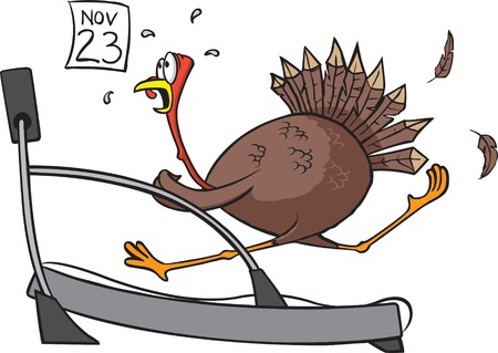 A cartoon of a turkey on a treadmill   Ilustração