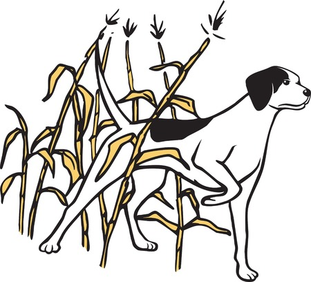 Illustrated hunting dog in field
