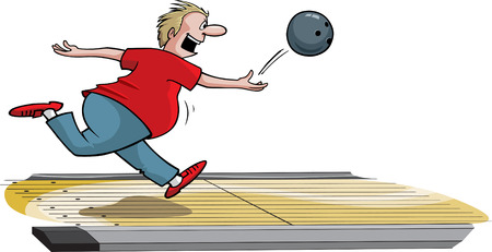 A cartoon male bowler throwing ball down lane   Illustration