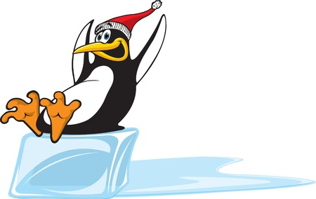 A happy cartoon Penguin sliding on a block of ice