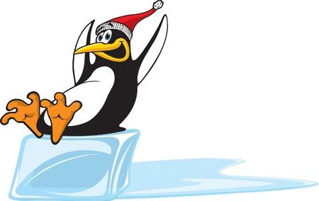 A happy cartoon Penguin sliding on a block of ice