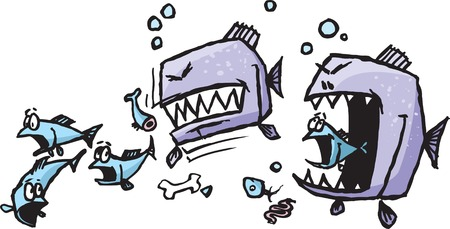 A couple of vicious cartoon piranha ripping into a hapless school of fish  Rendered in a loose style   Illustration