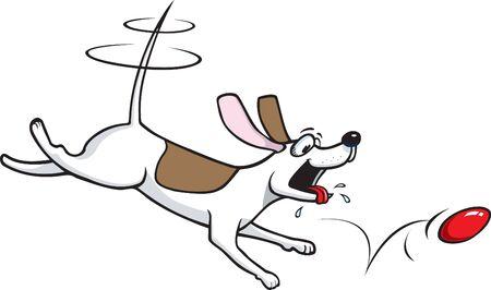 遊び心のある漫画の子犬と彼のボール