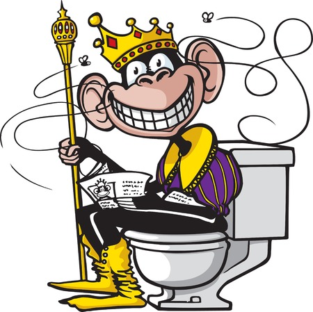 Een cartoon van een chimpansee zit op een toilet
