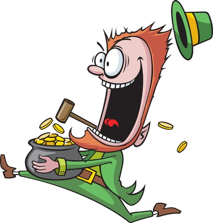 A cartoon of a Leprechaun running with his pot of gold   Illustration