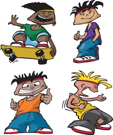 rowdy: A cartoon group of four wild and crazy boys