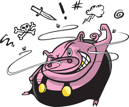 Cartoon of a hog that is shaking his fist and cursing
