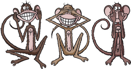 Cartoon of see no evil, hear no evil, speak no evil monkeys