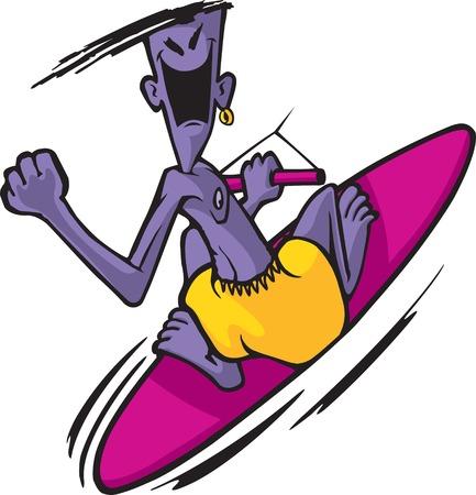 Crazy cartoon wakeboard dude
