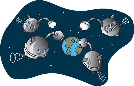 A cartoon of unidentified flying objects