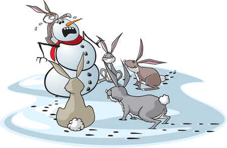 A cartoon snowman surrounded by hungry rabbits