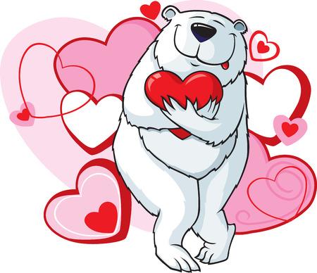 Cartoon polar bear with Heart background