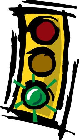 Illustrated grungy,abstract cartoon traffic light   Illusztráció