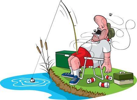 fishing pole: A cartoon fisherman asleep in his chair