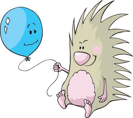 porcupine: A cartoon Porcupine with a balloon