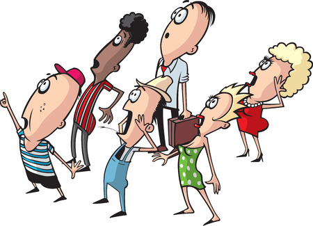 A layered vector cartoon of a small crowd looking up   Illustration