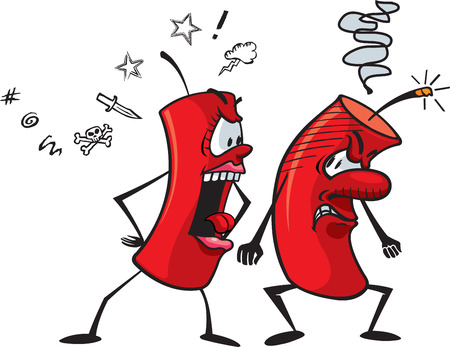 anger management: Cartoon fire crackers illustration