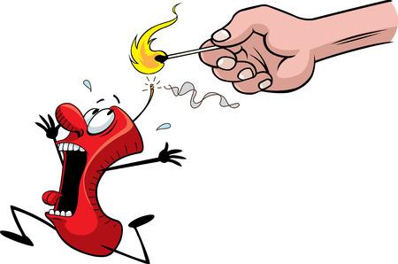 A cartoon fire cracker running for it s life