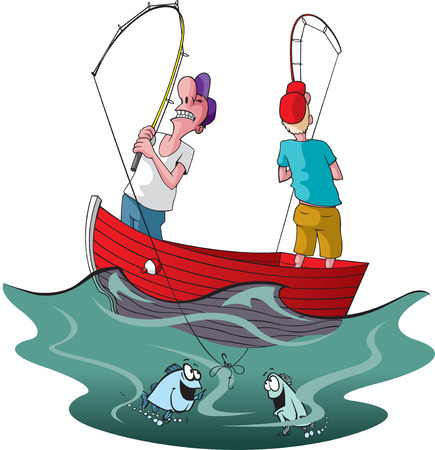 Vector cartoon of two tangled up fishermen