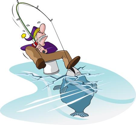 Cartoon Ice fisherman illustration