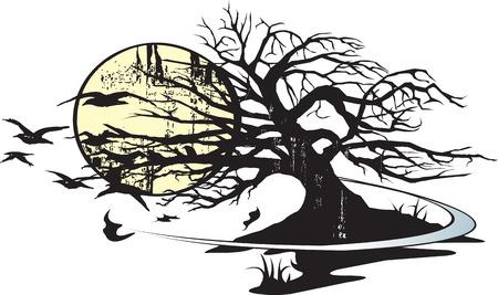 Illustrated tree and moon  Illusztráció
