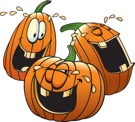 Cartoon Pumpkins having a good time
