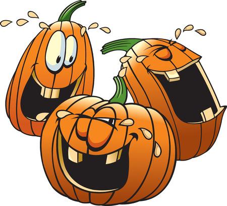 Cartoon Pumpkins having a good time