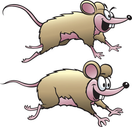 rata caricatura: Dos ratones felices del dibujo animado