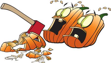 Cartoon Pumpkins scared out of their wits   Illusztráció