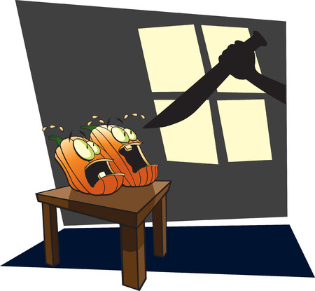 Cartoon Pumpkins scared out of their wits