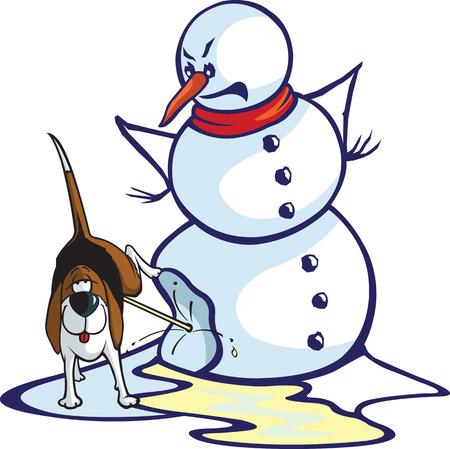 Gelaagde vector-bestand van een cartoon sneeuwman en een opgelucht hond