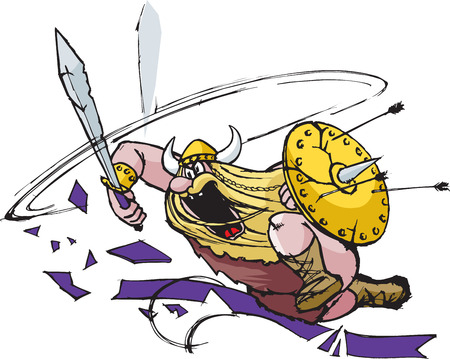 A rampaging cartoon Viking drawn in a loose style