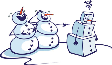 Layered vector cartoon of two snowmen laughing at a fellow snowman  High resolution jpeg file also available