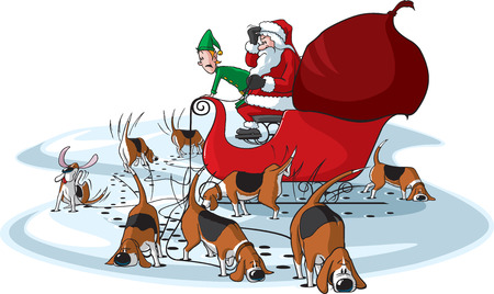 A cartoon Santa Claus and his sleigh team of Beagles