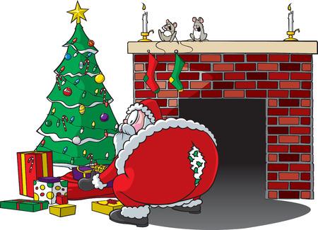 体を曲げ、ズボンのリッピング サンタさんの漫画  イラスト・ベクター素材