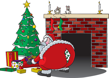 Cartoon of Santa bending over and ripping pants   Vector