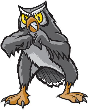 A cartoon Owl ready for a fight  Illusztráció