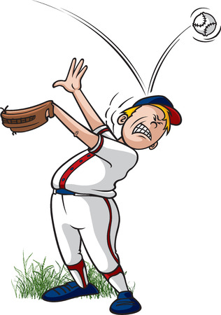 A cartoon little league baseball player getting hit on the head by a baseball