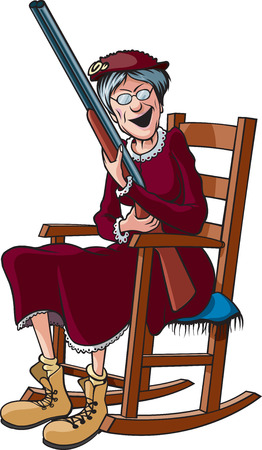 Una abuela de dibujos animados en una mecedora y sosteniendo una escopeta