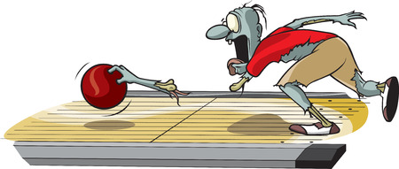 A cartoon Zombie Bowler rolling the ball and losing an arm Stock fotó - 26868748