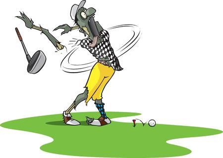 A 漫画のゾンビ ゴルファー ティーオフと腕を失った  イラスト・ベクター素材