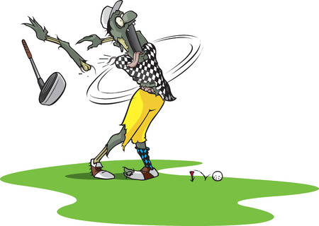 A cartoon Zombie Golfer teeing off and losing an arm   Vector