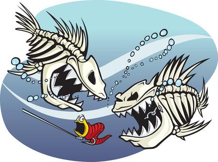 악한 만화 뼈대 물고기 한 쌍의