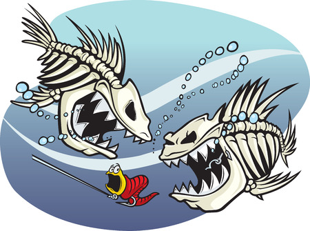 A pair of wicked cartoon skeleton fish
