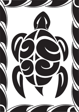 Illustrated Tiki Turtle  Vector and high resolution jpeg files available