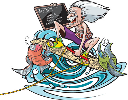 Cartoon Einstein on a wakeboard with a pair of happy fish  Layered vector and high resolution jpeg files available  Three different arms on separate layers  One holding chalkboard, one fist pumping and one flipping bird