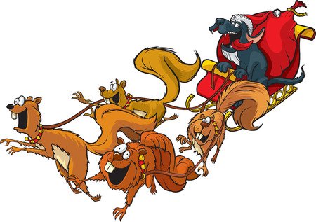Cartoon Santa Dog with a squirrel sled team. Layered vector and high resolution jpeg files available.